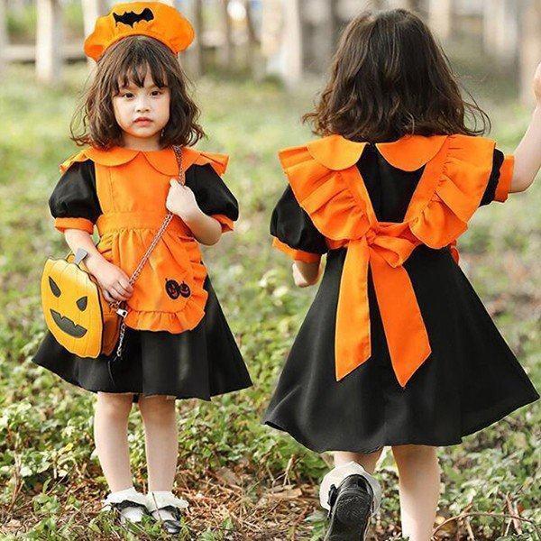 ハロウィン衣装 かぼちゃ カボチャ パンプキン ワンピース エプロン ドレス 3点セット 悪魔 魔女 女の子 子供用 仮装 魔法 髪飾り 黒 蝙