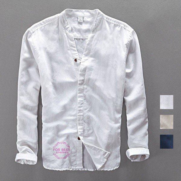 白シャツ メンズ リネン 長袖シャツ カジュアルシャツ ワイシャツ 綿麻シャツ ナチュラルシャツ ルームウエア メンズ 50代 60代 春物 夏