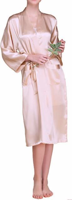 無地 16.5匁シルク100%ガウンのみ レディース ベージュ 長袖 絹100% 【送料無料】バスローブ 母の日 敬老の日 プレゼント ギフトあす楽