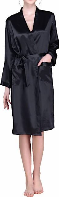 無地 16.5匁シルク100%ガウンのみ レディース 黒色ブラック 長袖 絹100% 【送料無料】バスローブ 母の日 敬老の日 プレゼント ギフトあ