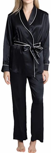 無地 16.5匁シルク100%ガウンとズボン レディース 黒色ブラック 長袖 絹100% 【送料無料】バスローブ 母の日 敬老の日 プレゼント ギフ