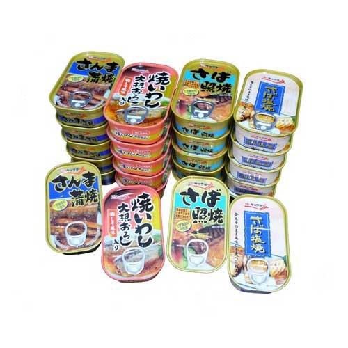 キョクヨー 非常食 保存食 セット お魚惣菜缶詰 さば照焼 焼いわし さんま蒲焼 さば塩焼 4種×各6缶 ファミリーライフ 魚 ご飯 食品 食材