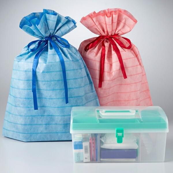 [ギフト]ラッピング付 プラスチック製救急箱 応急手当用品14点セット 外傷用救急箱 救急セット おしゃれ 薬箱 応急手当セット
