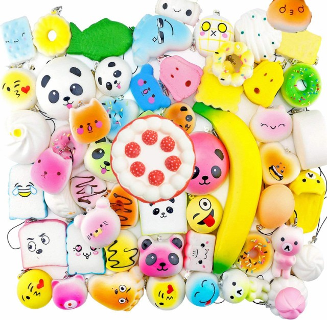 スクイーズ 50個 セット 可愛い おもちゃ 低反発 ケーキ い パンストレス解消グッズ ストラップ 香りつき 子供 プレゼント玩具 s