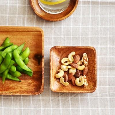 木製 アカシアスクエアプレート 10cm アカシアプレート 木製 食器 皿 小皿 木のお皿 木の食器 キッチン雑貨 カフェ風 ウッド おしゃれ