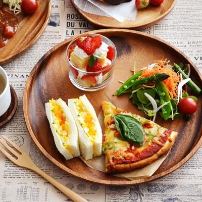 木製 アカシアプレート 丸30cm アカシアプレート 大皿 パスタ皿 カレー皿 ワンプレート 主菜皿 パーティ用 木のお皿 木の食器 トレー
