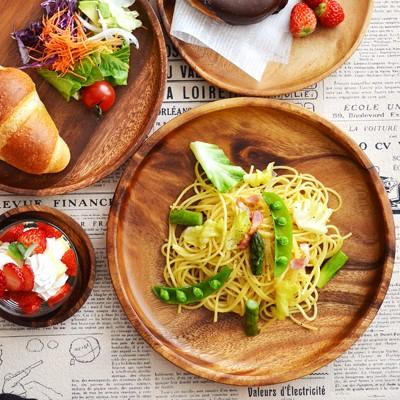 木製 アカシアプレート 丸25cm アカシアプレート 大皿 パスタ皿 カレー皿 ワンプレート 木製 食器 皿 木のお皿 木の食器 トレー トレイ