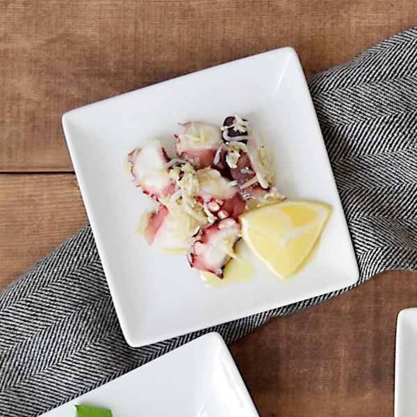 小皿 スクエアプレートS 12cm ホワイト LAPIS 皿 さら プレート 角皿 醤油皿 漬物皿 薬味皿 取り皿 副菜皿 サラダ皿 菓子皿 お茶請け
