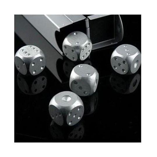 サイコロ ダイス メタルサイコロ 5個セット シルバー 専用ケース付