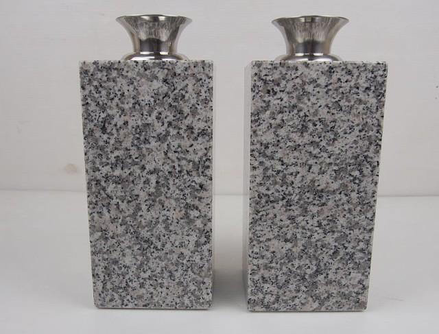 白御影石お墓用花立て ステンレス製花立て付 一対(2本セット) 12x12xH24cm 17.6kg