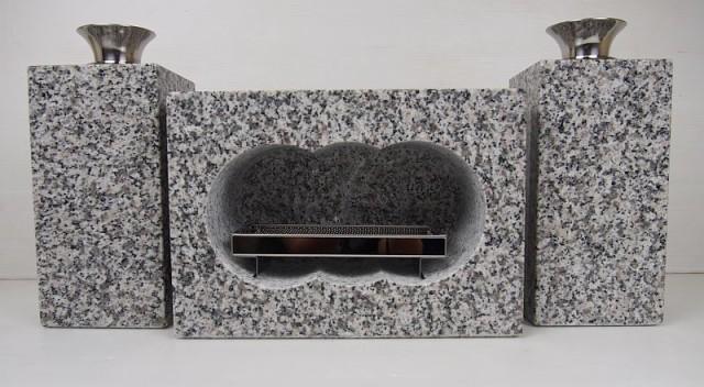 白御影石 墓用香炉セット L 36kg 送料無料
