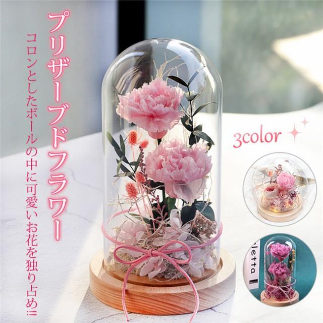 敬老の日 プリザーブドフラワー ガラスドーム プレゼント ギフト 枯れない花 カーネーション 花 お祝い 誕生日 インテリア 贈り物 母の日