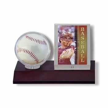 ウルトラプロ(UltraPro) サインボール&カードケース ダークウッド台座 (#81674) Dark Wood Base Ball Card Holder