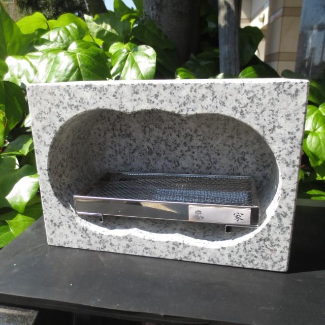小さい香炉 軽い 線香立 ミニ みかげ石 御影石 価格重視 小さく エコでコンパクトな横型 線香立て ステンレス線香皿&家名シール付き 送