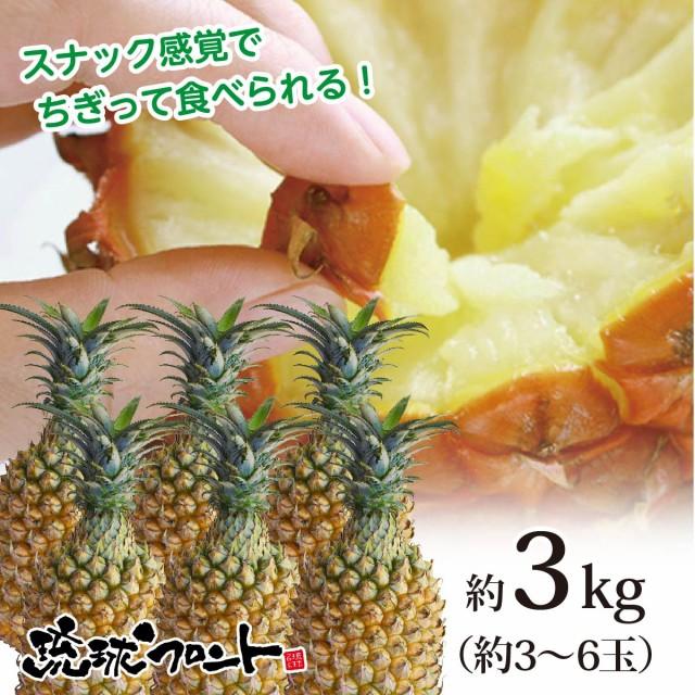 【送料無料】沖縄県産 スナックパイン 約3kg(約3〜6玉) 沖縄 パイナップル ボゴールパイン