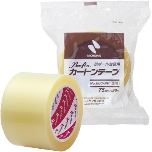 ニチバン 梱包用テープ カートンテープ 透明 幅75mm×長50m 660PF-75 【まとめ買い3巻セット】