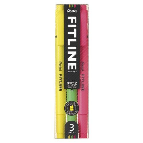 (まとめ買い) ぺんてる 蛍光ペン フィットライン 3色セット SLW11-3 【×10】
