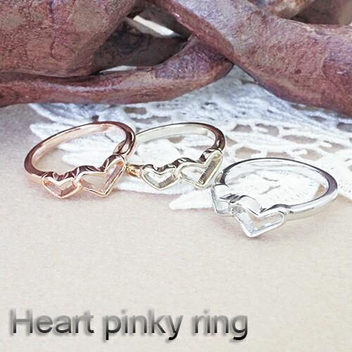 ピンキーリング 指輪 小指 オープンハート シンプル レディース 1号 4号 6号 シルバー ゴールド ピンクゴールド メール便 送料無料 プチ