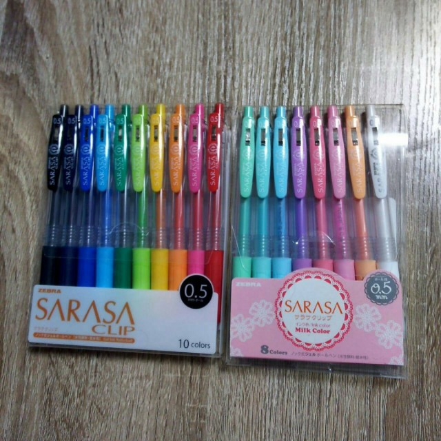 ゼブラ ジェルボールペン サラサクリップ0.5 (10色&ミルク8色セット)