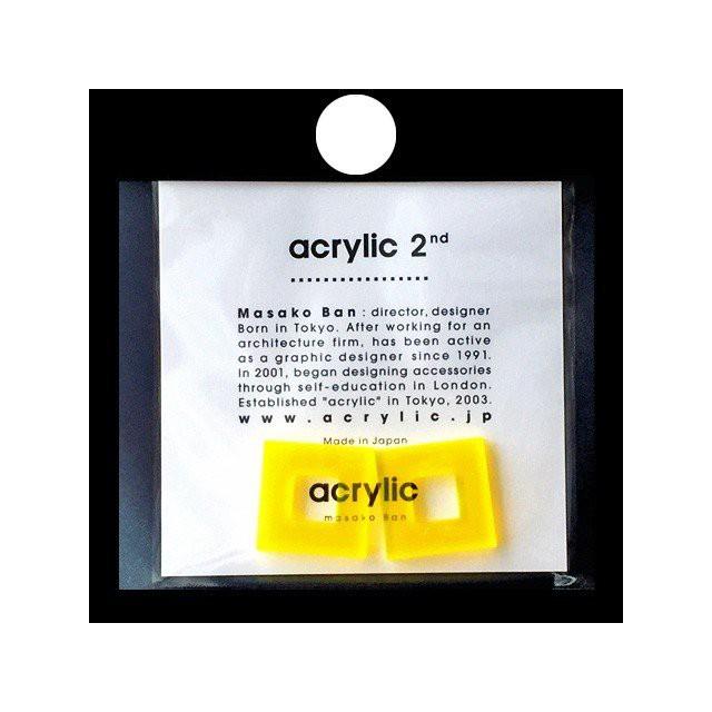 acrylic アクリリック gum earring ガムイヤリングパーツ スクエア小 イエロー 痛くないゴムイヤリング 坂雅子 masako ban ブランド 日本