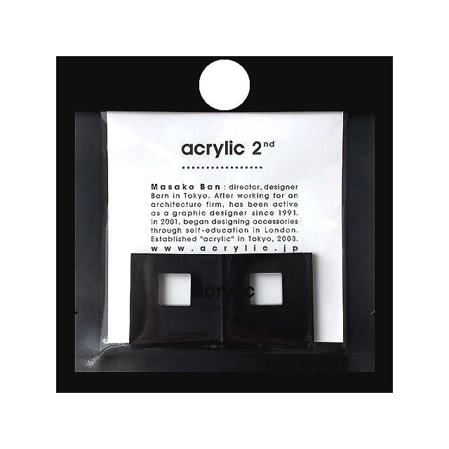 acrylic アクリリック gum earring ガムイヤリングパーツ スクエア大 グレー 痛くないゴムイヤリング 坂雅子 masako ban ブランド 日本製