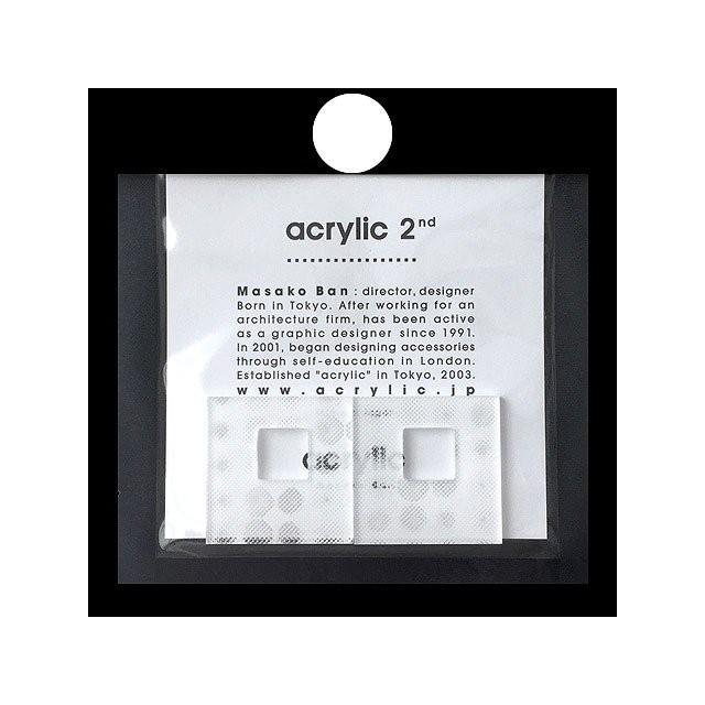 acrylic アクリリック gum earring ガムイヤリングパーツ スクエア大 3D ホワイト スモールドット 痛くないゴムイヤリング 坂雅子 masako