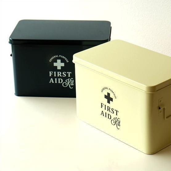 救急箱 おしゃれ かわいい インテリア 薬箱 薬入れ スチール ボックス 収納 小物入れ ふた付き 工具箱 フェールエイドボックス 2カラー