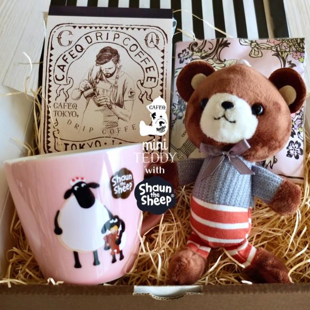 母の日 ギフト ミニテディ ショーンギフト/ ショーンザシープ マグカップ 1種1個/チョコ 1種/紅茶(tb3個)又はコーヒー(dp3個)&ミニテデ