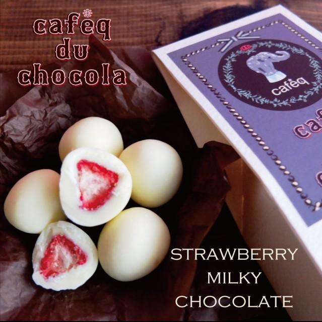 【ストロベリー ミルキー ホワイト チョコレート 5粒入り】ベーシック ボックス/ポーランド産 ドライ ストロベリー使用(手提げ小ショッパ