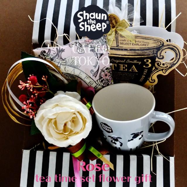 母の日【フラワーギフト】ショーンザシープ マグカップ 1種1個/チョコレート 1種/紅茶(アールグレー ティーバッグ3個入り)・ピンクエンジ