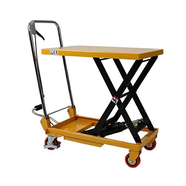 送料無料 油圧式昇降台車 リフトカート テーブルカート ハンドリフター 黄 折りたたみ 耐荷重約150kg キャスター付き ノーパンクタイヤ