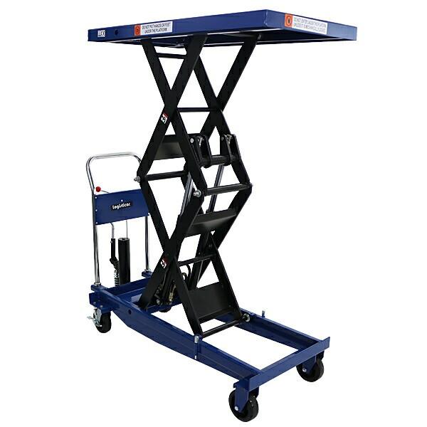 送料無料 油圧式昇降台車 リフトカート テーブルカート ハンドリフター 高床 ロングタイプ 青 最高位約1700mm 耐荷重約1000kg 昇降台 油