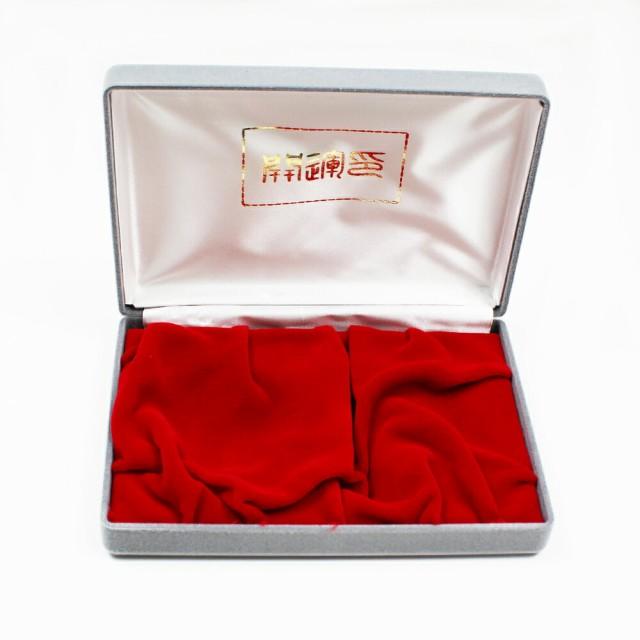 別珍 化粧 ケース 印鑑ケース 朱肉入用 朱肉ケース はんこ 判子 収納 実印 銀行印 保護 保管 2本用 グレー
