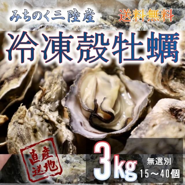 牡蠣 みちのく三陸産 冷凍殻牡蠣 3kg 加熱用 殻付き 送料無料 バーベキュー 石巻 女川 南三陸 焼く 蒸す 煮る 揚げる 等様々なお料理に