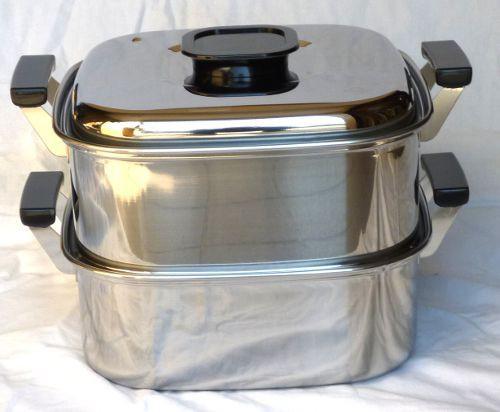 蒸し器 ステンレス 桃印18-0角型蒸器2段22cm 6-0371-1001 7-0385-1001