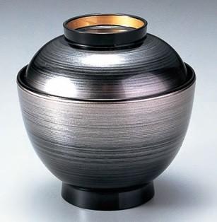 汁椀 蓋付き 3.5寸 玉子椀 銀カスミ高台内金 耐熱ABS樹脂 食器洗浄機対応 f6-222-2