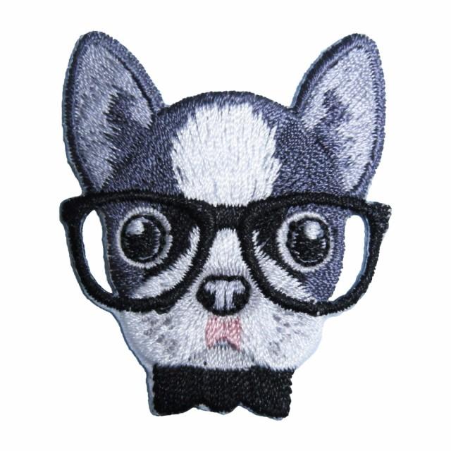 アイロンワッペン 刺繍 動物 メガネ イヌ 3