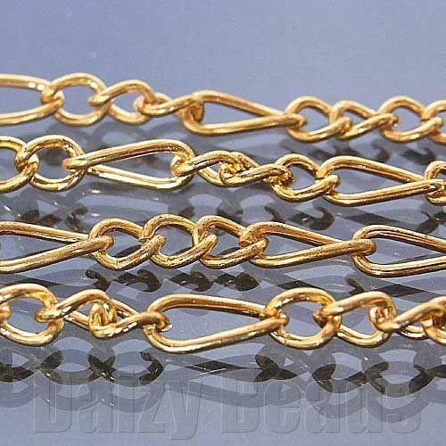 アクセサリー パーツ 『2パック分おまとめセット』「チェーン パーツ 金具」 「ゴールド」 約3x7mm+3x4mm 太さ0.8mm 長さ1m
