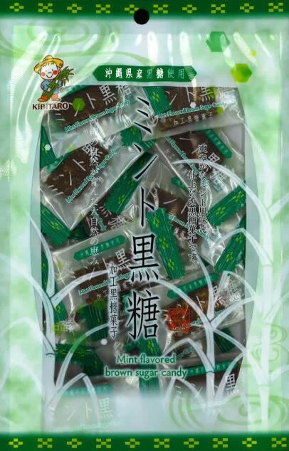 爽やかなミント風味の黒糖です。 ミントの香りが引き立つようバランスを考慮した黒糖菓子です。個包装の110g!