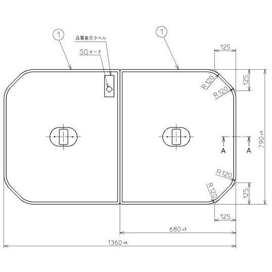 在庫有1 お風呂のふた TOTO 風呂ふた 軽量把手付組み合わせ式 組みふた 外寸:1360×790mm PCF1440N #N11(品番変更 PCF1440R #NW1) トト