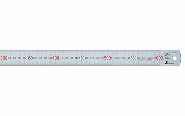 シンワ測定 マグネチックスケール シルバー 60cm 赤数字入 マグネット付JIS 13536