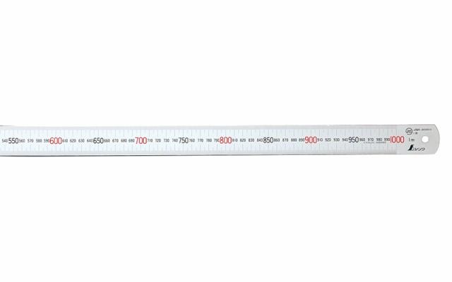 シンワ測定 マグネチックスケール シルバー 1m 赤数字入 マグネット付JIS 13544