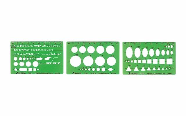 シンワ測定 テンプレート TS−A 一般総合定規 カードタイプ 3枚組 66034