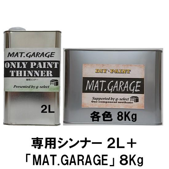 MAT.GARAGE シンナー2L+塗料8Kgセット【g-select ガレージフロア ガレージ塗装用 1液ウレタン 7分艶塗料】