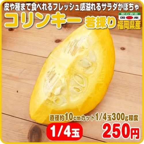 フレッシュ感溢れるサラダかぼちゃ コリンキー 若採り カット1/4 福岡県産