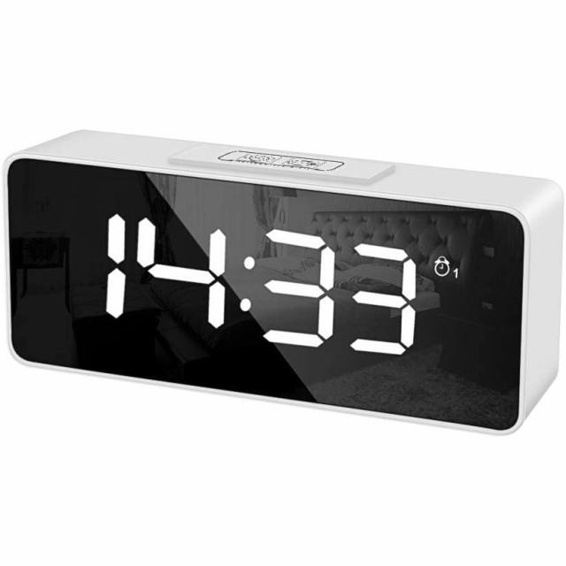 目覚まし時計 デジタル 置き時計 LED 時間 置時計 2組アラーム カレンダー スヌーズ機能 記憶機能 高音質 USB充電 音制御機能 25曲選曲