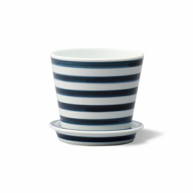 波佐見焼 es テーブルポット ボーダー ダークブルー 鉢植え 植物 植木鉢 お花ポット 家庭菜園 ガーデニング はさみ焼 磁器 エッセンス