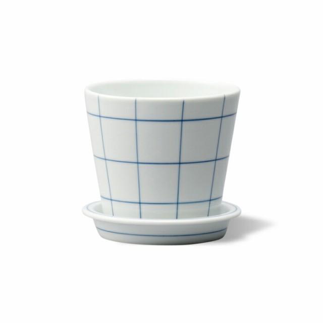 波佐見焼 es テーブルポット チェック ブルー 鉢植え 植物 植木鉢 お花ポット 家庭菜園 ガーデニング はさみ焼 磁器 エッセンス ギフト