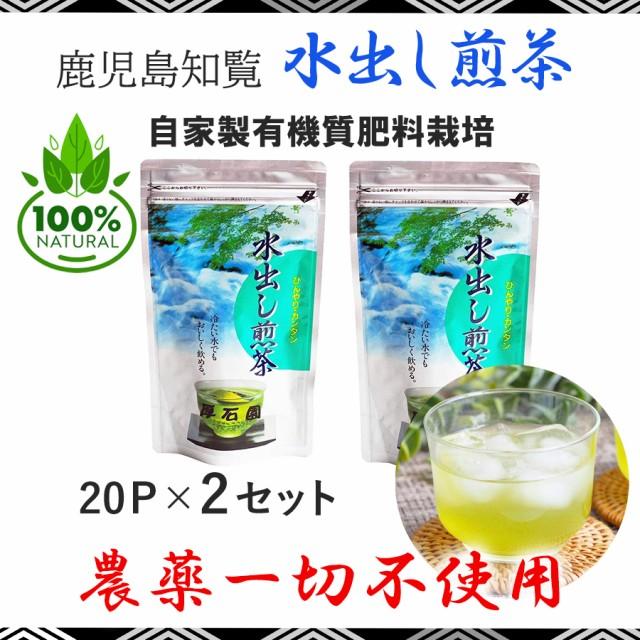 水出し緑茶ティーパック20個×2セット 知覧茶 無農薬 自家製有機質肥料栽培 天然エキスのみ散布 高級緑茶