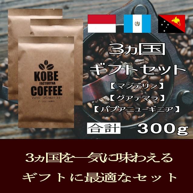 母の日 中煎り 3ヵ国 コーヒー ギフトセット 合計300g コーヒー豆 自家焙煎 贈答 プレゼント